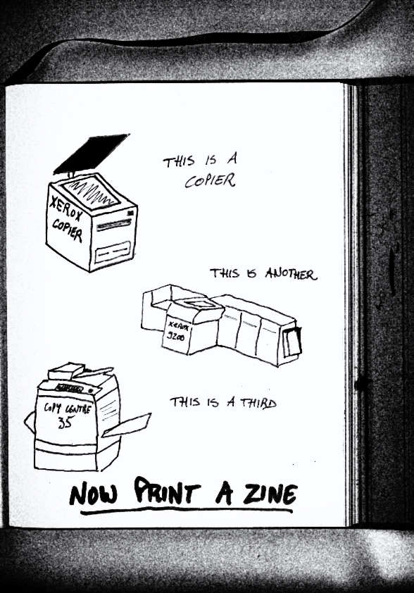 "Seitoung ""Now Print a zine"", dessin au feutre sur papier. 17*22 cm. Contribution à Copy Machine - Zone de Reproduction Temporaire, Rouen, ESADHaR, 2017."